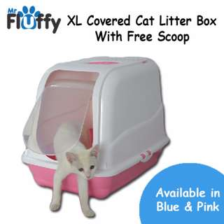 XL Covered Cat Litter Box With Free Scoop