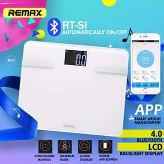Remax Smart Body Healthy Scale Bluetooth 4.0 Support ios and Android devices Free APP to measure Body type BMI fats Visceral fat Calories Metabolic rate Muscle Bone Water BMI