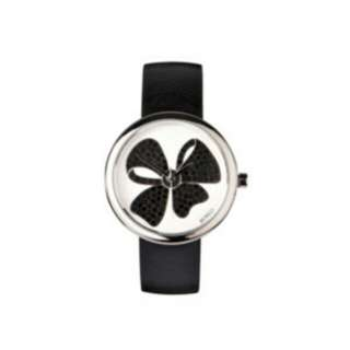 Mimco black leather bow print watch