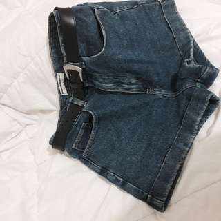 AMERICAN APPAREL HIGHWAISTED DARK WASH DENIM SHORTS