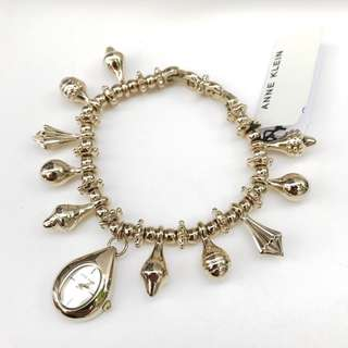 Anne Klein Watch * 2942CHRM Gold Steel Charm Bracelet