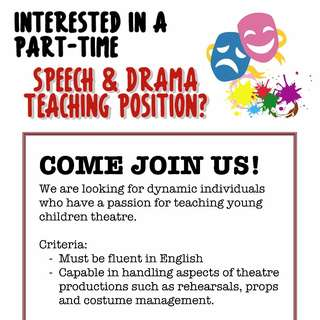 Looking for Part-Time Speech & Drama Instructors