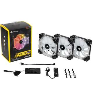 Corsair HD120 RGB LED High Performance 120mm PWM Fan — Three 3 Pack with Controller
