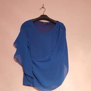 blue chiffon top