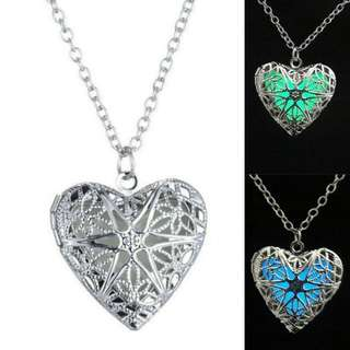 Glow in the Dark Hollow Heart Fashion Necklace