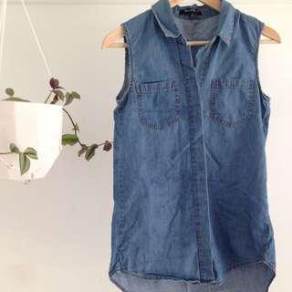 Sleeveless Denim Button Up Shirt