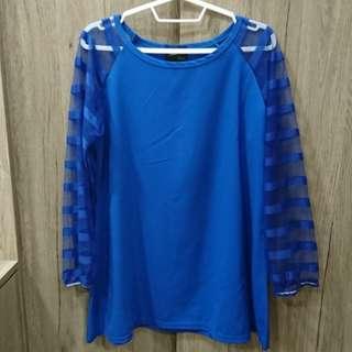 🚚 🌉寶藍色線條紗上衣-落肩設計