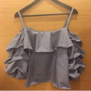 Gingham Ruffles offshoulder top