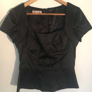 Moss & Spy Black Satin Peplum Top
