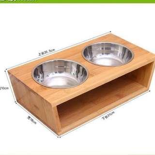 (NEW!)$38 solid wood pet bowl set