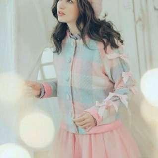配色方格緞帶蝴蝶結上衣