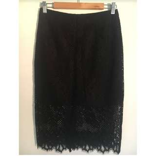 Witchery Black Lace Skirt Size 8