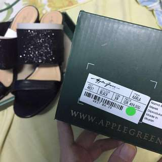Black Strap Heels by Apple Green