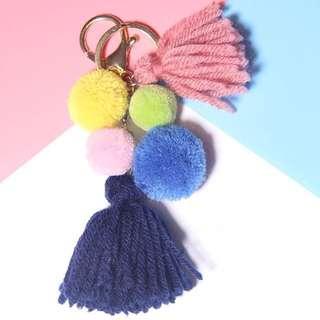 可愛流蘇毛球鑰匙圈掛件飾品吊飾