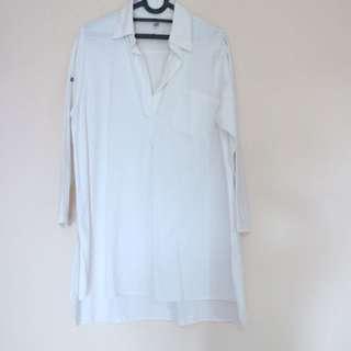 Dress pendek / atasan kemeja putih polos