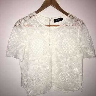 Valleygirl white crochet top