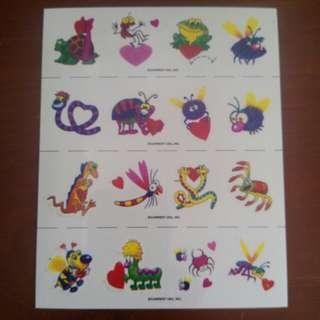 可愛蟲蟲卡通紋身貼紙