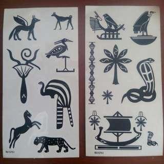 黑色古埃及圖騰紋身貼紙