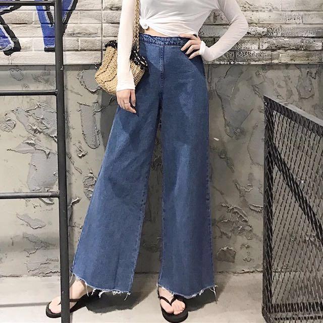 2017夏季新款復古風牛仔高腰寬褲 #長褲特賣
