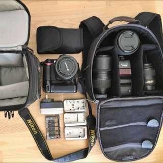 Nikon D90 DSLR Camera Kit: Body, 4 x Lenses, 2 x Bags, 2 x Batteries, Charger, Speedlight, Filters + more!