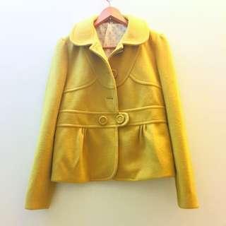 芥末黃毛呢西裝外套 #外套特賣