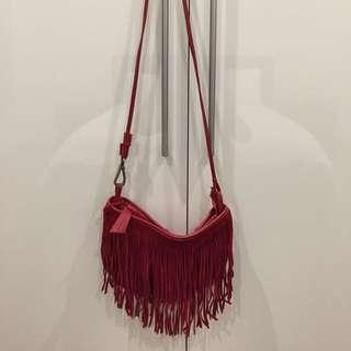 Suede fringe bag (red)