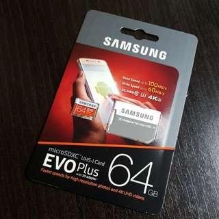BNIB 64GB microSD Class 10 + Adapter