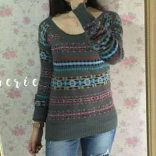 POOF Gray Cute Knit Pullover
