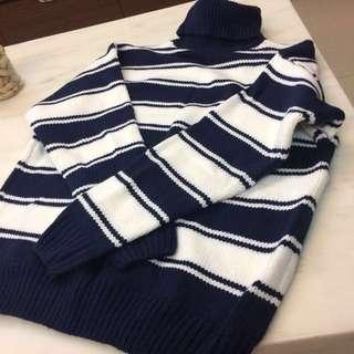 條紋高領毛衣(深藍)