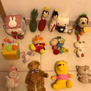Assorted mixed soft toys for babies and tots.