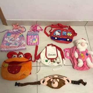 Assorted mixed kids bags.