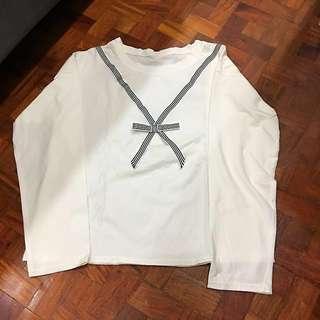 Basic Long Sleeves White Top | Sweater