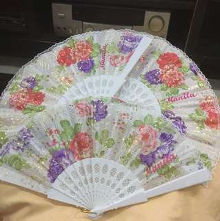 Hand Folding Fan with Manila embroidered