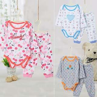 Baby boys and girls romper set( 2 pcs) long sleeve onesie and long pants