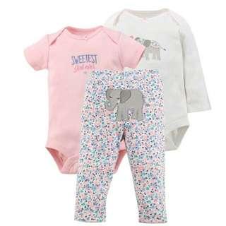 Fashionable Baby Boys and Girls Romper Set( 1 set 3 pcs)