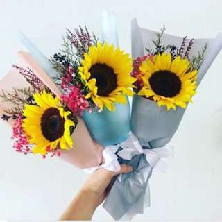 Korean Single Stalk Sunflower bouquet with mix fillers