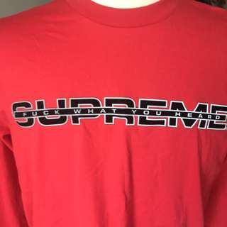Unworn Supreme 'Fuck what they said' long sleeved red cotton shirt