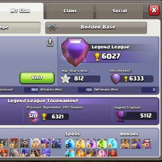 Clash of clans max th11 with 6k trophy current season