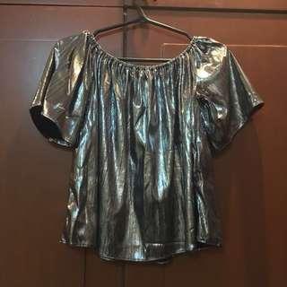 Silver Off-Shoulder Top
