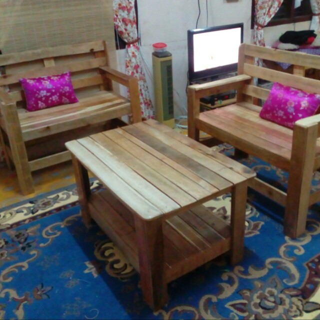 2 Kerusi 1 Coffee Table Kayu Pallet Home Furniture