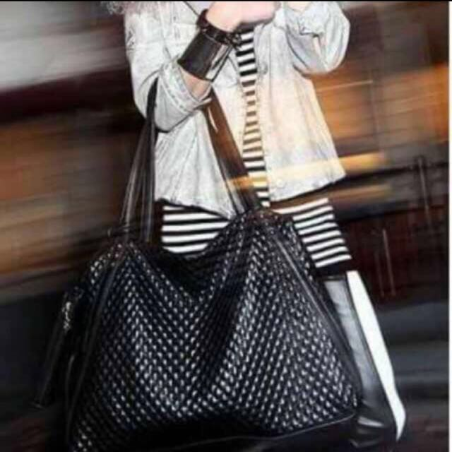 超大菱格紋包/側背包/行李袋
