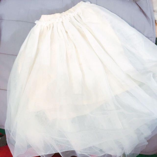米白超澎白色紗裙