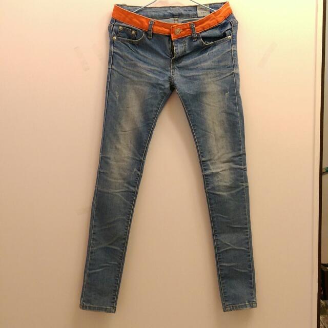 粉色拼接淺色牛仔褲 #長褲特賣