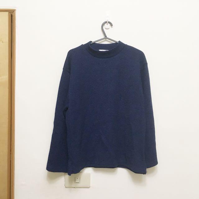 全新。正韓藏青色針織小高領寬袖上衣