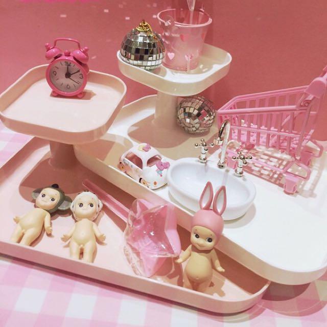 (現貨❕)少女心房間裝飾首飾盤展示架護膚化妝品收納盒桌面擺設