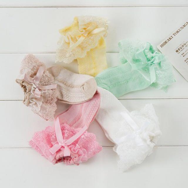 🎀(全新) 👶👸超美蝴蝶結新生兒/寶寶/嬰兒/小女孩/公主蕾絲花邊襪🎀