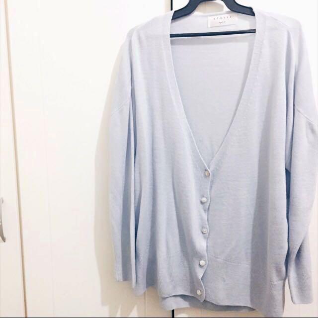 質感淺藍罩衫外套 #外套特賣