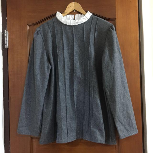 A字立領洋裝長上衣