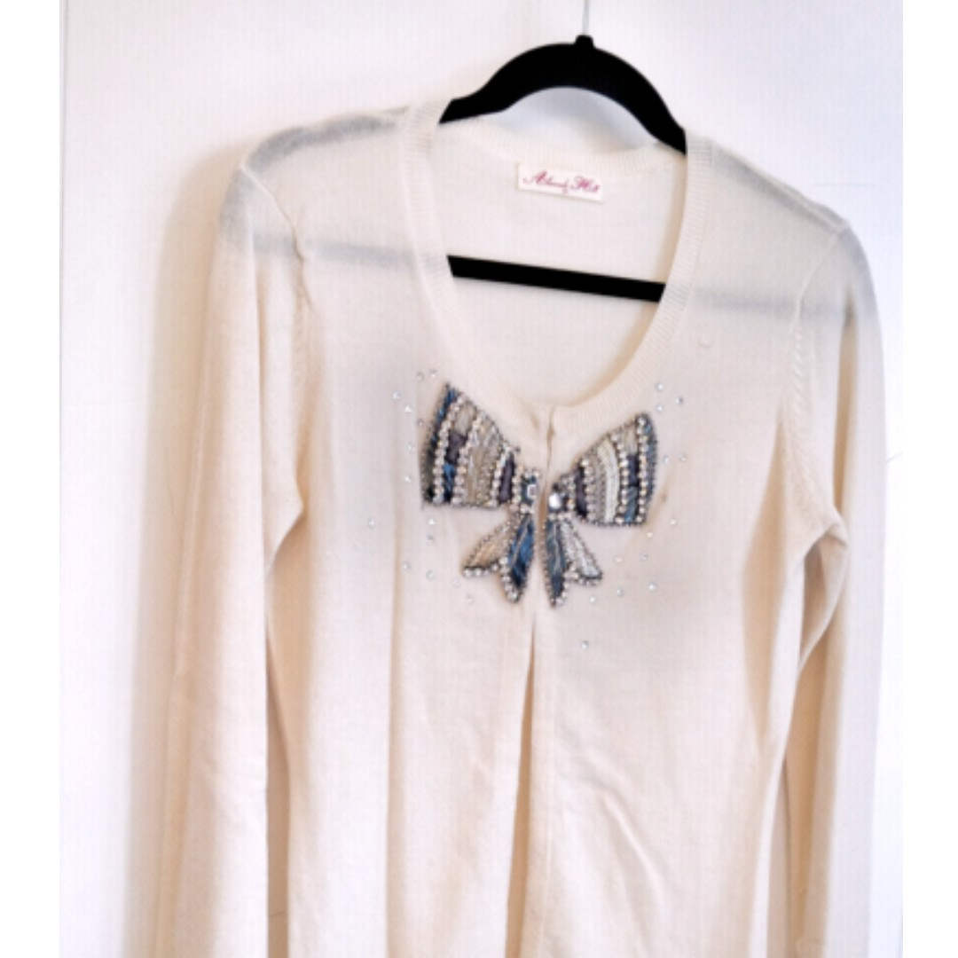 Alannah Hill | Size 10 | 'Where are you' Cardigan Cream with diamonte bow detail