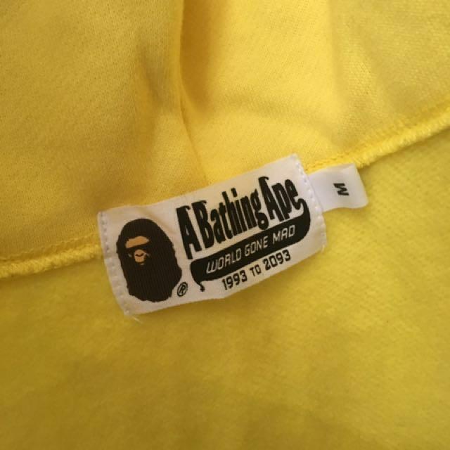 Authentic BAPE full zip yellow shark hoodie